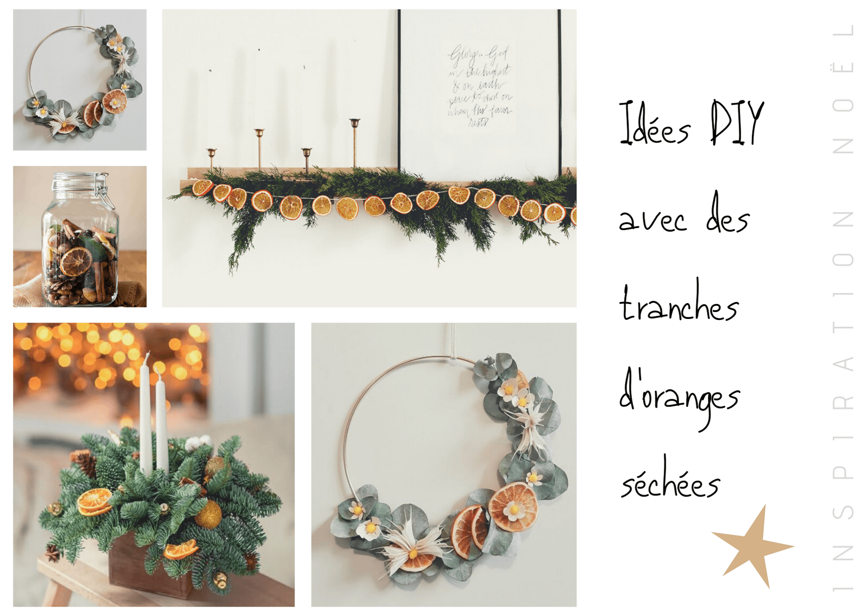 idées décoration de noel avec oranges séchées