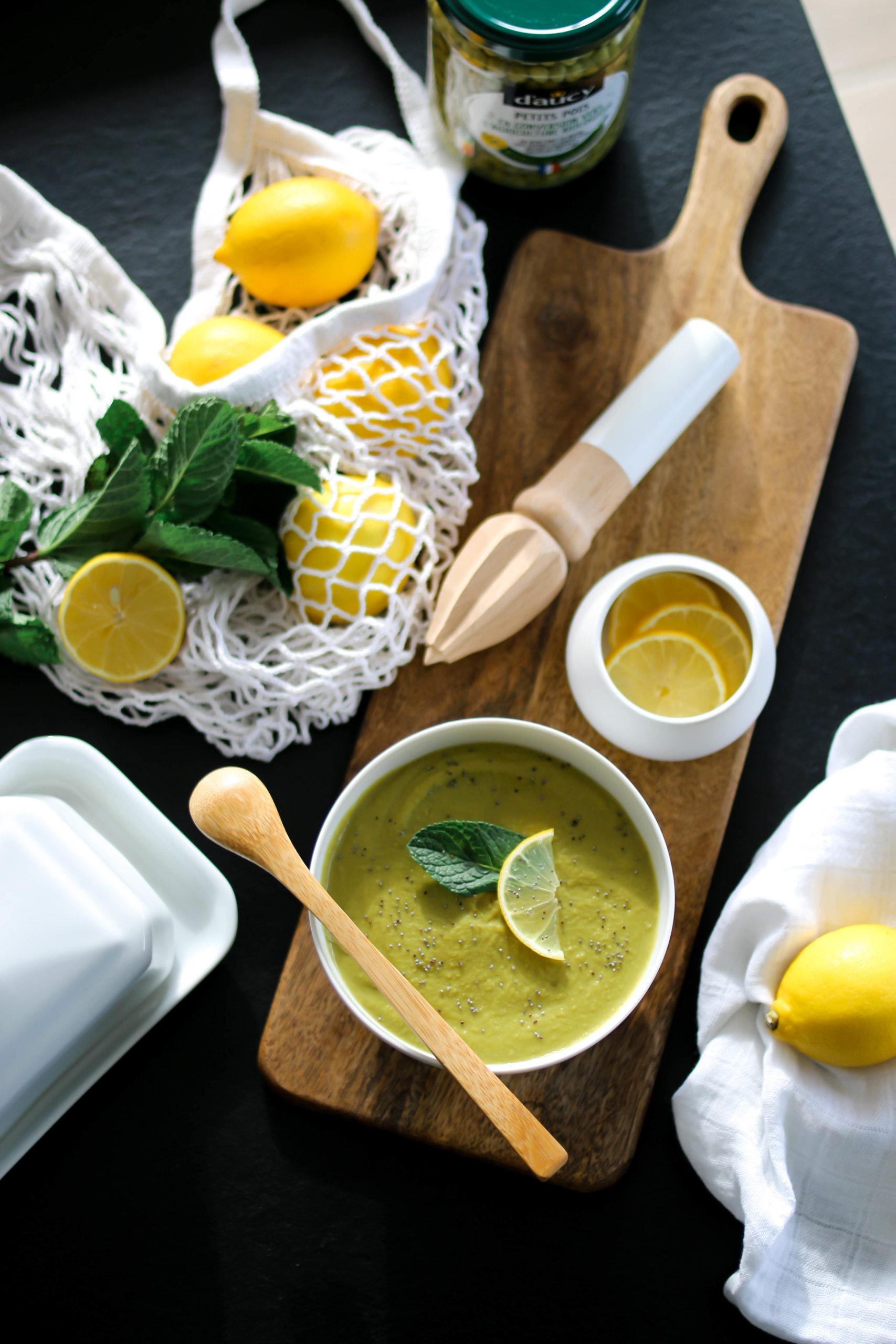 soupe petits pois menthe et citron