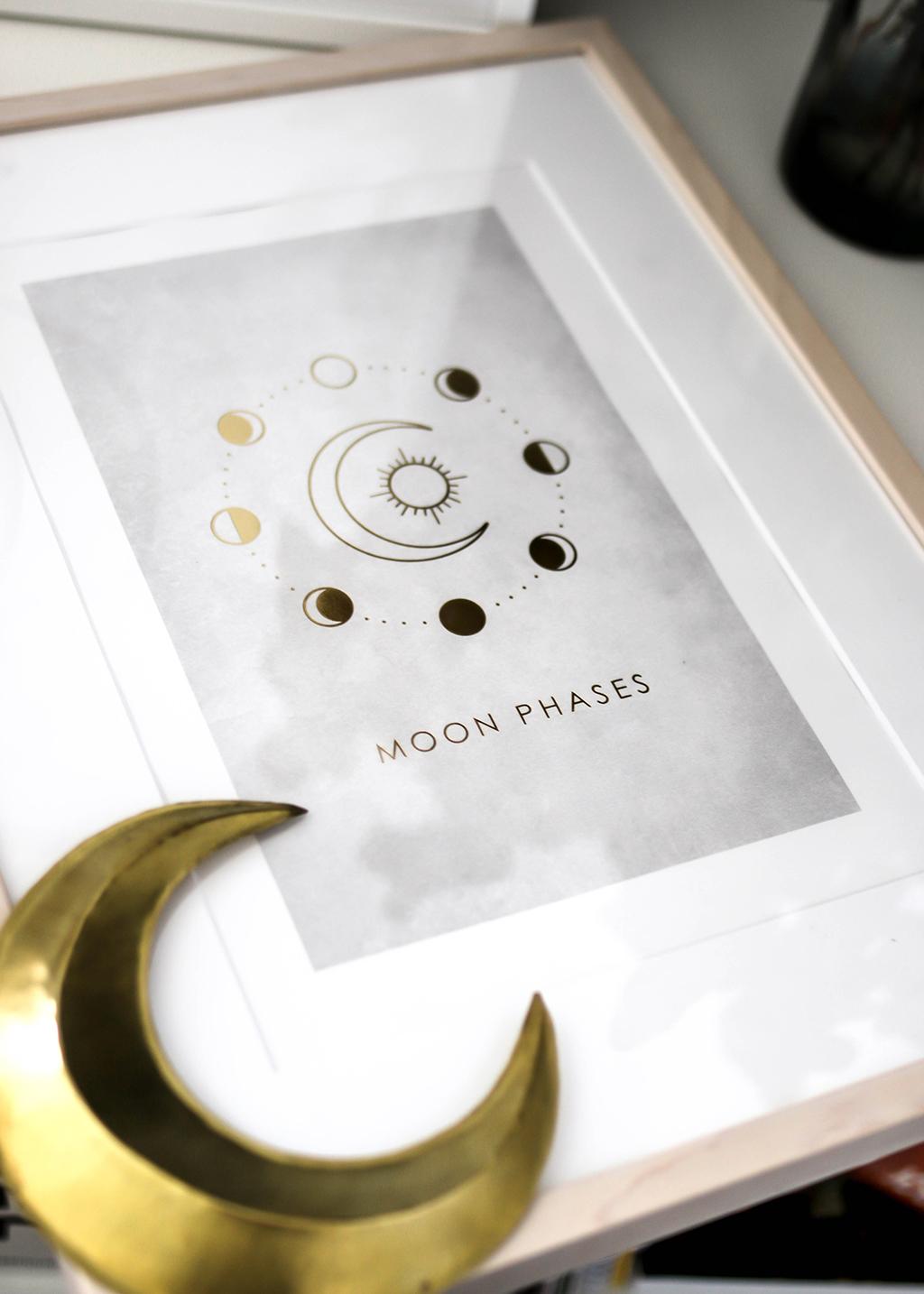 affiche avec les phases de la lune