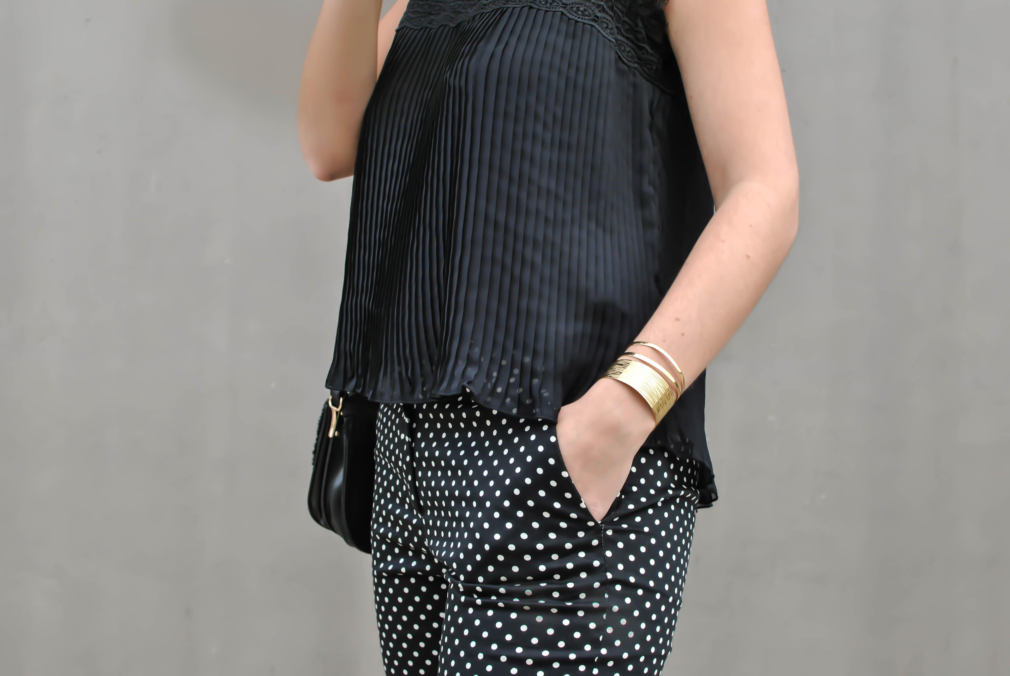 dots pants black blouse pantalon à pois blog mode le petit monde d'elodie