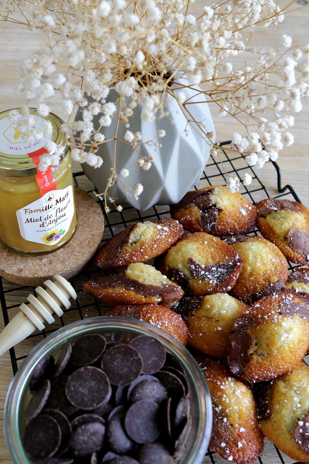 madeleines chocolat et miel