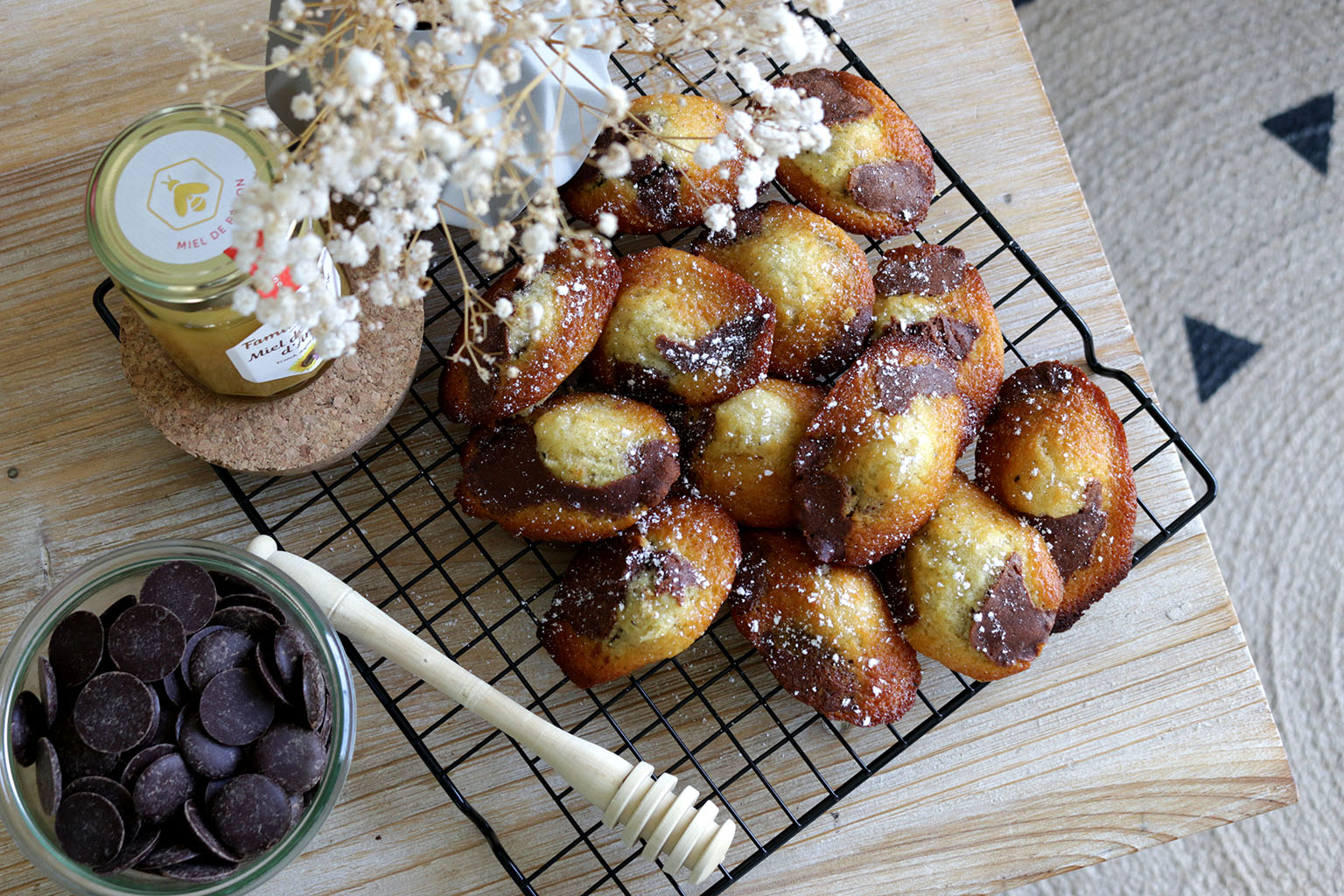 madeleines chocolat miel