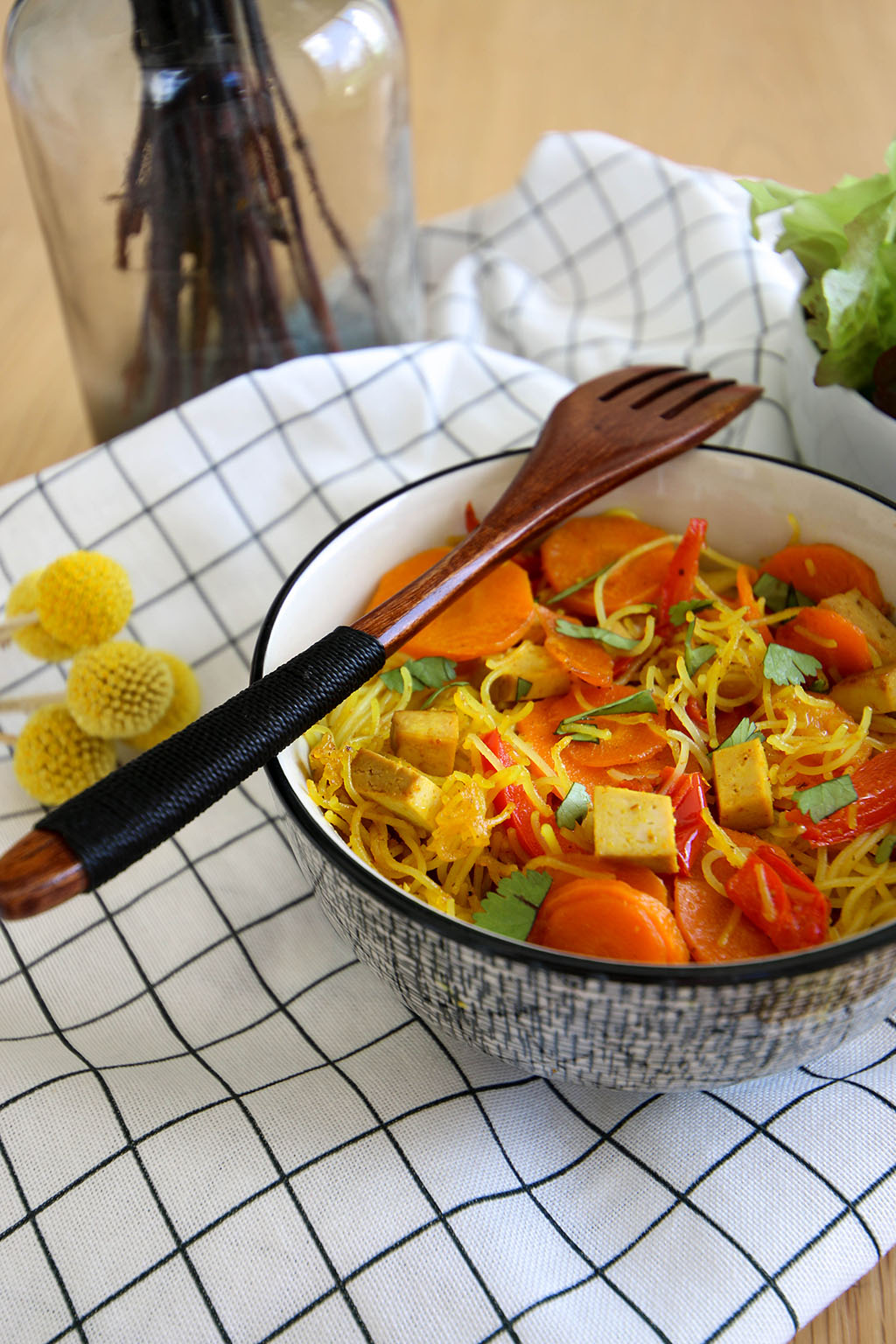 recette de vermicelles de riz avec carottes et poivrons