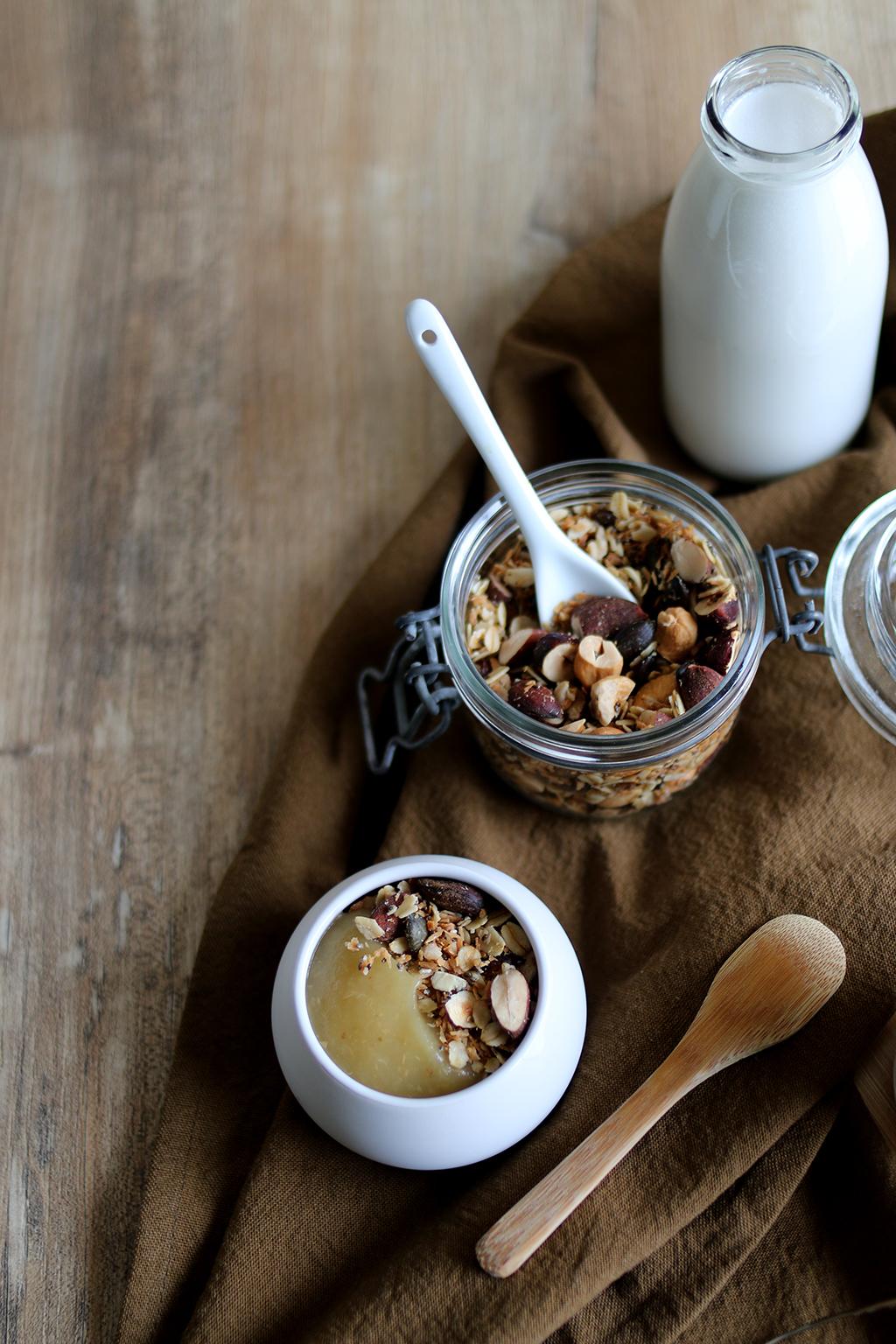 granola sans sucre avec lait d'amande